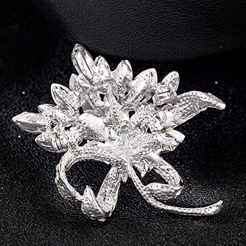MUZHE Vintage Rhinestone Orchid Flower Crystal Brooch Pin Bowtie Wedding Jewelry (Blue) by MUZHE (Image #3)