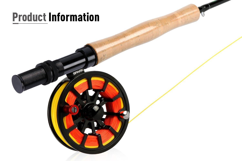 Goture para pesca con mosca Rod y carrete Combos para agua salada agua dulce 5/6 y 7/8 para principiantes y pescador pesca con mosca vuela señuelos Kit ...