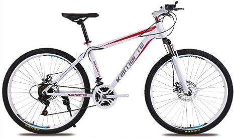 WGYEREAM Bicicleta de Montaña, For Mujer for Bicicletas de montaña de 24 Pulgadas de Acero al Carbono Suspensión Delantera Barranco Bicicletas 21/24/27 plazos de envío de Doble Disco de Freno: Amazon.es: Deportes