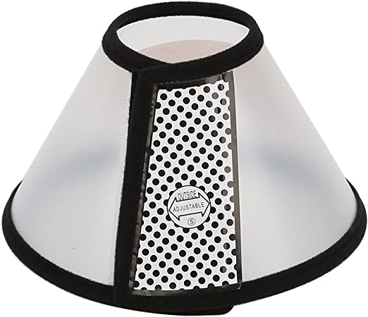 Vivifying Recovery Pet Cone, 8.1 Inches Lightweight Plastic Elizabethan Collar for Cats, Mini Dogs and Rabbits (Black)