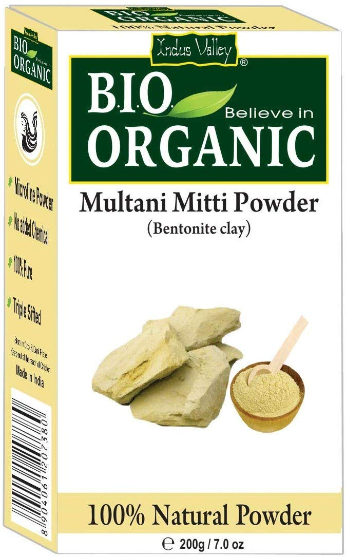 Indus Valley 200g Organic Multani Mitti Clay Powder 200 grams Fullers Earth Clay For Skincare & Haircare Bentonite Clay