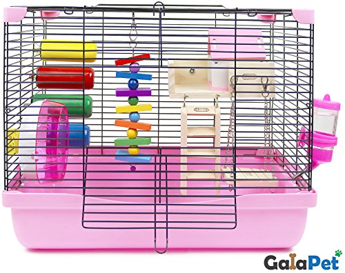 GalaPet Hamster and Gerbil Cage Habitat with Toys (Pink)