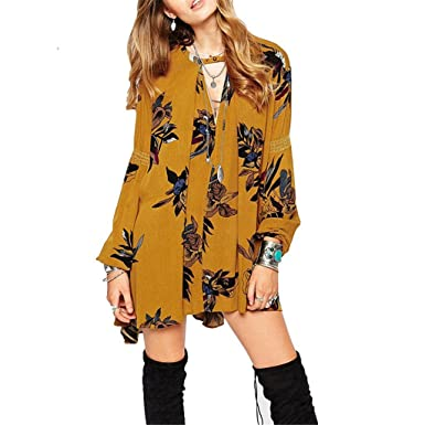 06a54bf54c44 Lemon Retro Print Floral Swing Boho style loose summer dresses for women ( Yellow-M) at Amazon Women s Clothing store