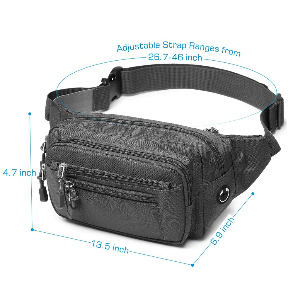 F-color Fanny Pack Waterproof Fanny Pack for Men Women with Cover 5 Zipper Pockets Waist Pack Bag for Travel Hiking Running Hip Bum Bag