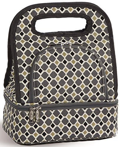 - Fully Insulated Includes Bonus Storage Food Container - Grey Mosaic by Picnic Plus (Savoy Tote)