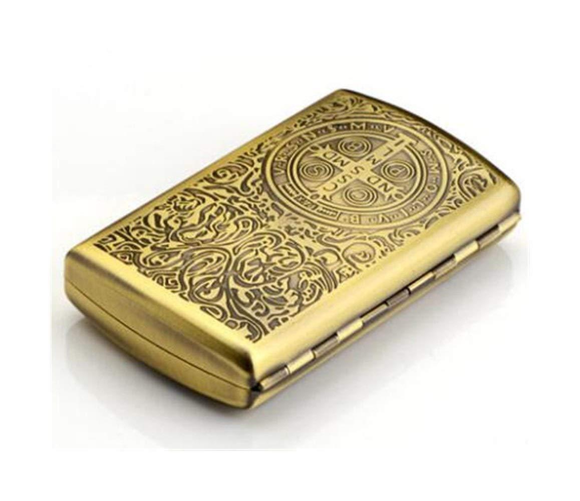 Cigarette Box, Copper Retro Cigarette Case Portable Cigarette Case Men's Ultra-thin Personality Cigarette Holder Gift Box, 20 Large Double Bed, More Patterns ( Color : Yellow , Size : 5.69.3cm )