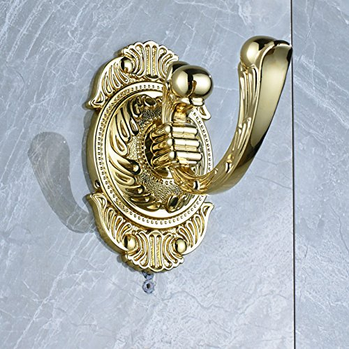 Gold Robe Hook (Rozin Gold Color Bathroom Towel Hook Wall Mounted Clothes Robe Hanger)