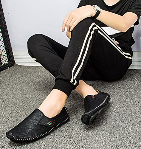 Mocassini Guida Loafers Anguang Scarpe Unita Tinta Pelle PU Nero Moda Uomo da Morbido W0BrHqz80