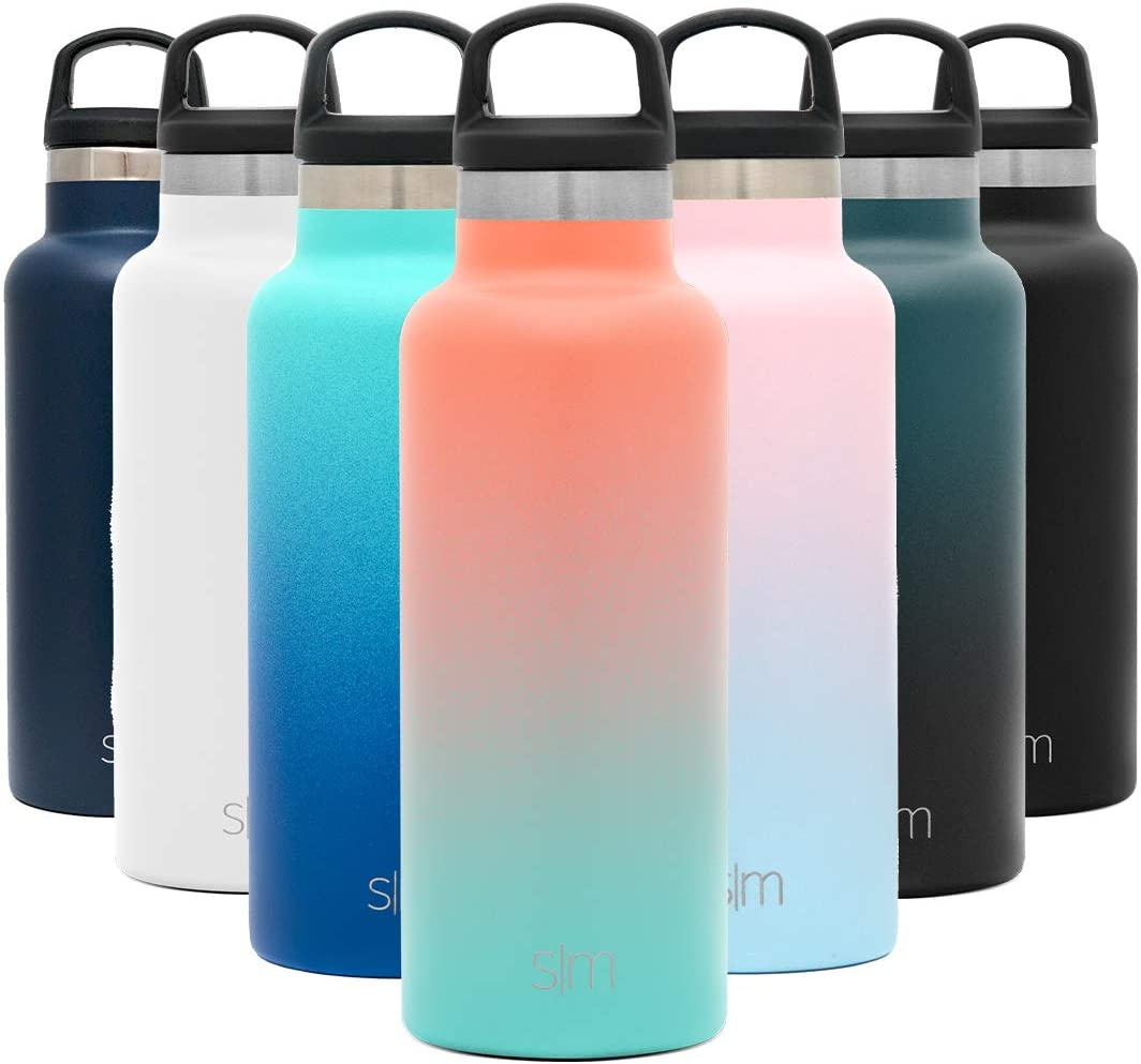 Simple Modern 17oz Ascent Water Bottle - Stainless Steel Flask w/Handle Lid - Orange Hydro Double Wall Tumbler Vacuum Insulated White Small Reusable Metal Leakproof Ombre: Havana