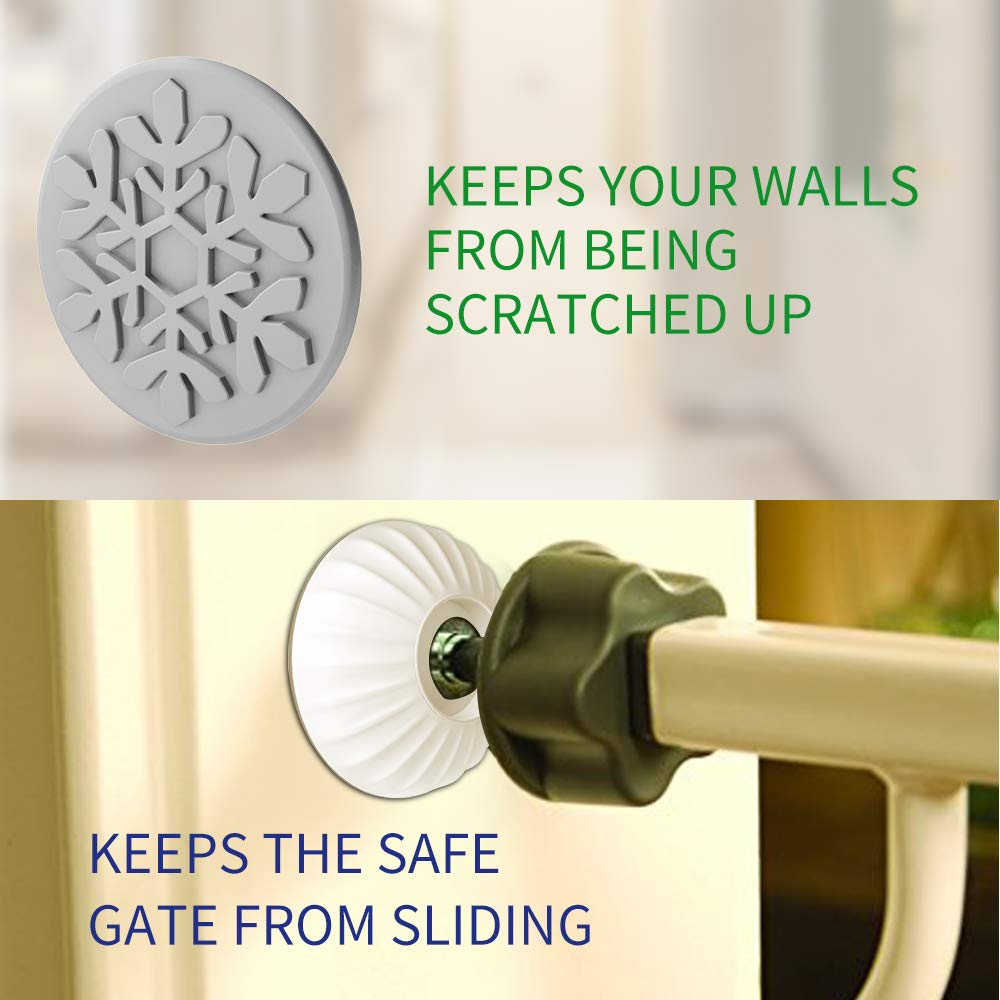 LATME Baby Gate Wall Protector Make Pressure Mounted Safety Indoor Gates More Stable-Wall Damage-Free Fit for Bottom of Gates Doorway Stairs Baseboard Work with Dog Pet Child Gates (White, Round) by LATME (Image #2)
