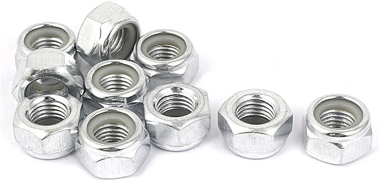 uxcell M12x1.5mm Zinc Plated UNF Self-Locking Nylon Insert Hex Lock Nut 10pcs