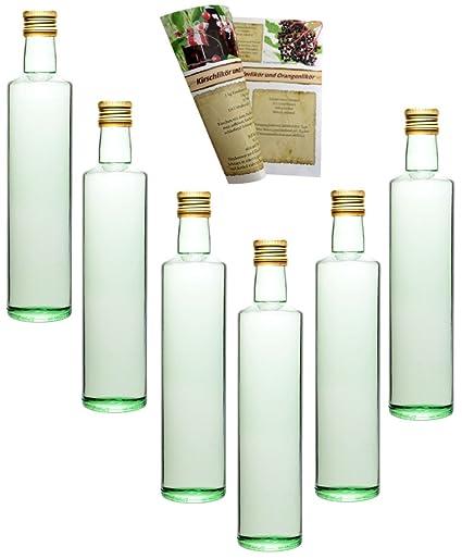 guoveo - 12 botellas de 500 ml con tapón de rosca dorado, botellas de vidrio