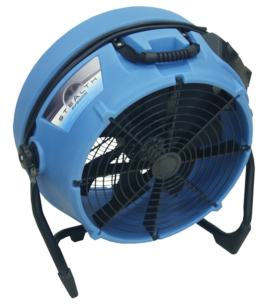 "Dri-Eaz Stealth AV3000 24"" High Velocity Axial Fan (F568), 2600 CFM, Blue, Low Noise, Industrial Fan, Pivot and Lock, Multi Purpose, Ventilate, Dry Floors, Variable Speed, 2.7 Amps, Easy Carry"