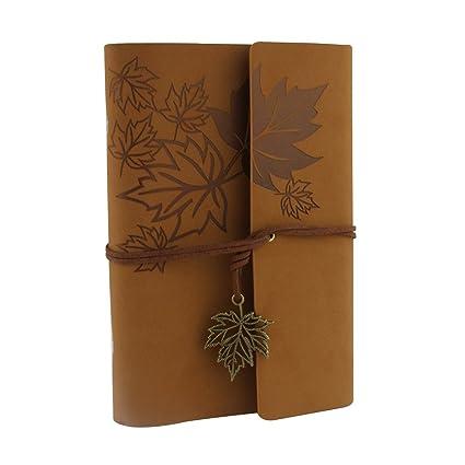 XUAN Diarios de Viaje Cuero Vintage Entre A6-A5,Libreta Anillas Bonita Notebook Papel Blanca/Unlined Cuaderno Antiguo Bloc de Notas Niños Idea para ...