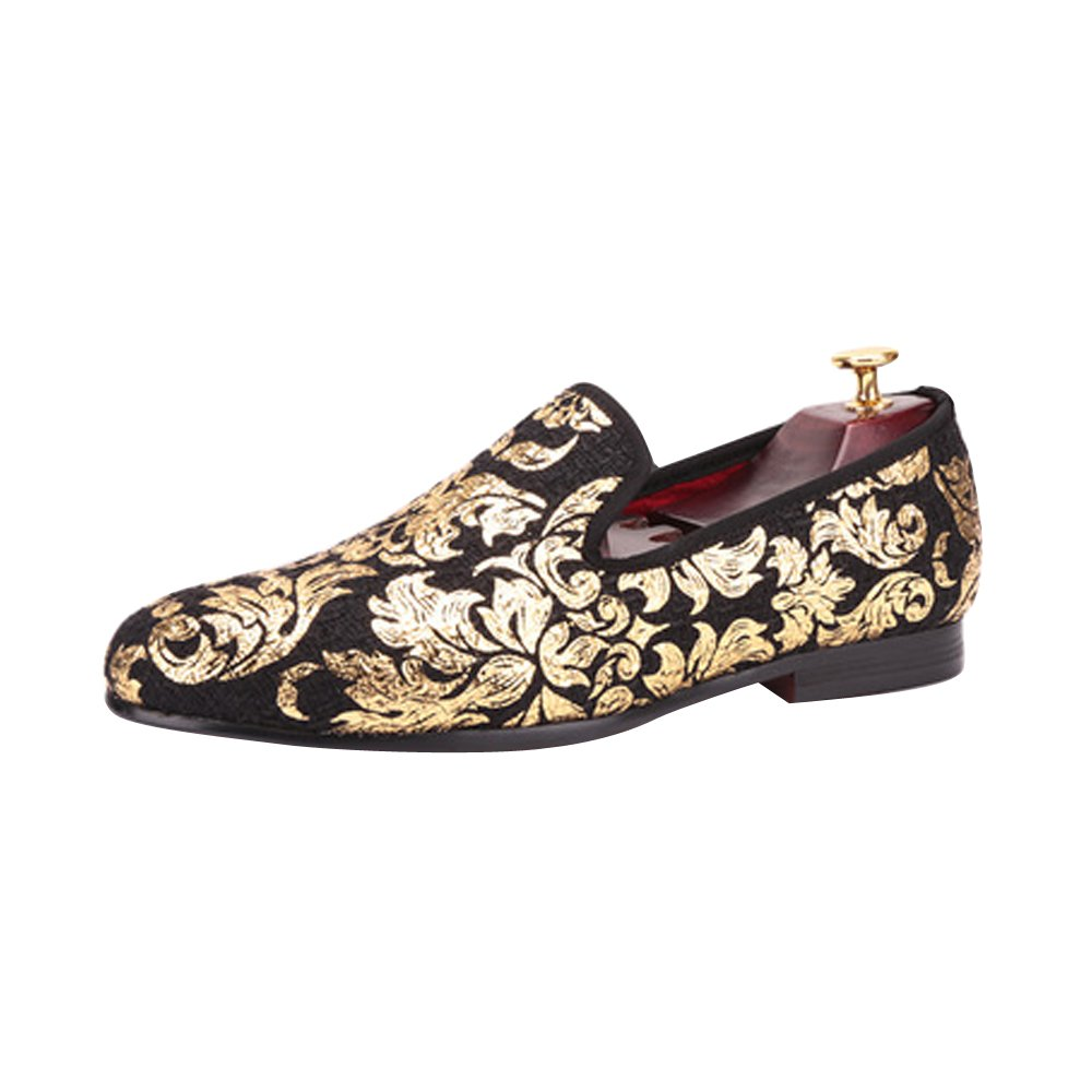 Men's High-end Gold printing Luxury Fashion Flats Loafers Size Black US 10