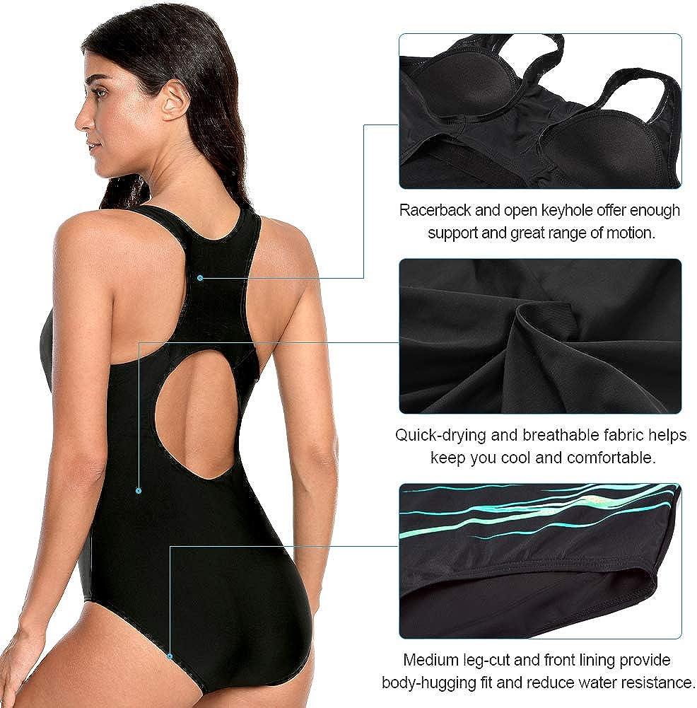 CharmLeaks One Piece Swimsuits Athletic Racerback Bathing Suits Racing Swimwear