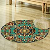 Small round rug Carpet with Style Islamic Motifs Oriental Design Red Green Blue door mat indoors Bathroom Mats Non Slip-Round 39''