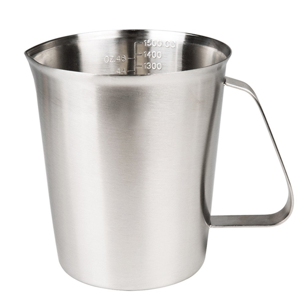 (1500ml) - Sissiangle 18/10 Stainless Steel Measuring Cup,Frothing Pitcher with Marking with Handle for Milk Froth, Latte Art (1420ml/1.5 Litre) 1500ml  B01N0L3LF2