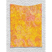 Ambesonne Modern Art Home Decor Tapestry by, Vivid Postmodern Pattern with Swirls Authentic Assemblage of Boho Design, Wall Hanging for Bedroom Living Room Dorm, 60WX80L Inches, Multi