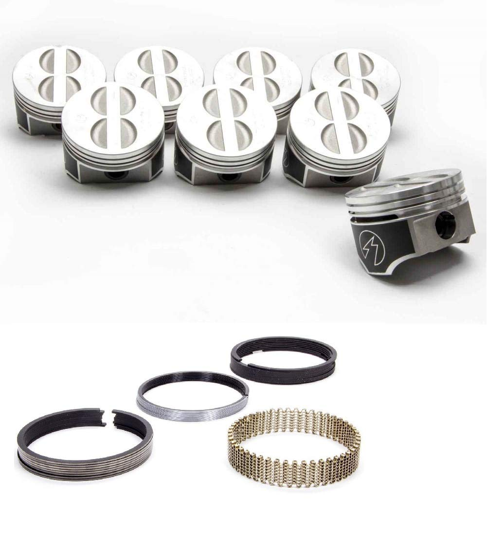 1968-79 Speed Pro TRW Power Forged Flat Top 4.030 bore .030 Piston and Rings Combo compatible with Chevy 350 5.7L