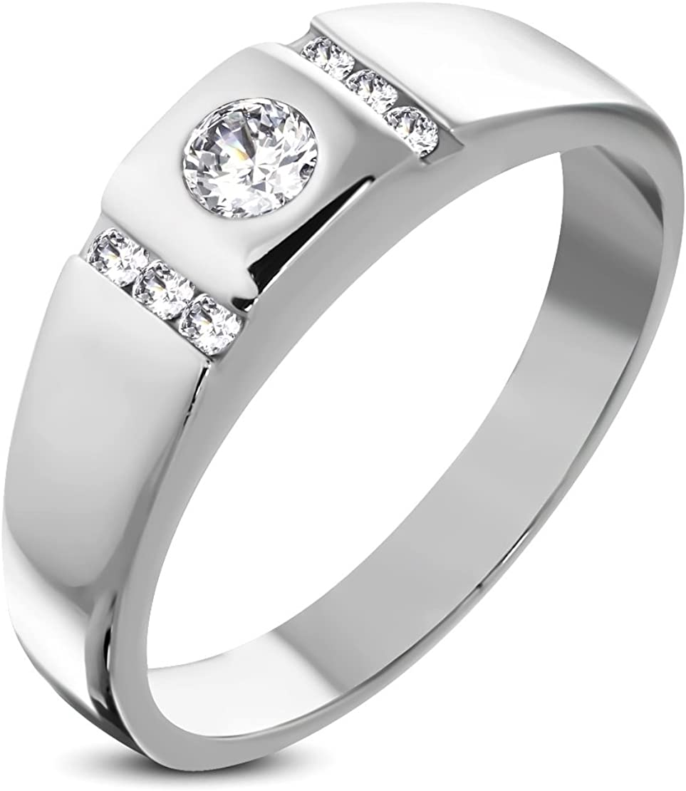 Stainless Steel Burnish-Set Band Ring with Clear CZ