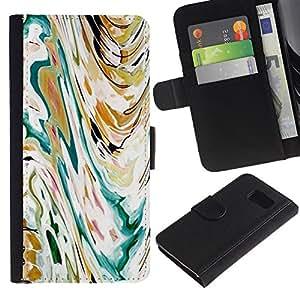 LASTONE PHONE CASE / Lujo Billetera de Cuero Caso del tirón Titular de la tarjeta Flip Carcasa Funda para Samsung Galaxy S6 SM-G920 / Art Painting Watercolor Waves