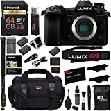 Panasonic Lumix G9 Mirrorless Camera Body 20.3 MP G9KBODY, Polaroid 64GB High Speed SD Card U3, Polaroid 72 Monopod, Spare Battery, Battery Charger, Ritz Gear Cleaning Kit and Accessory Bundle