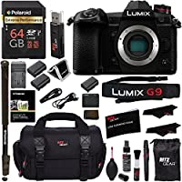 "Panasonic Lumix G9 Mirrorless Camera Body 20.3 MP G9KBODY, Polaroid 64GB High Speed SD Card U3, Polaroid 72"" Monopod, Spare Battery, Battery Charger, Ritz Gear Cleaning Kit and Accessory Bundle"