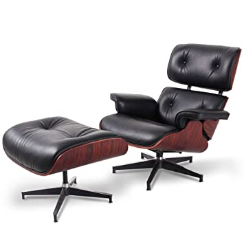 Charles Eames Lounge Stoel.Premium Replica Charles Eames Lounge Chair And Ottoman Black