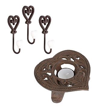 Gusseisen Teelichthalter Und Wand Haken Geschenk Set U2013 Rustikal Verziert  Floral Heart Design Teelichthalter Mit Drei