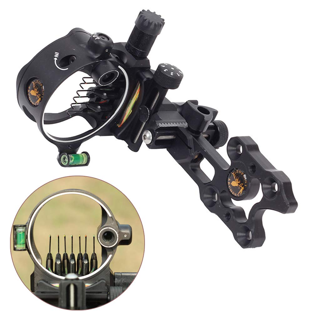 ZSHJG Archery Bow Sight 7 Pin 0.019 Optical Fiber Retinal Sight CNC Aluminum Horizontal Vertical Adjustment for Compound Bow Sight Accessory (7 pins Short Black) by ZSHJG