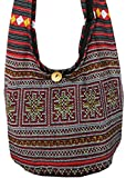 "Lovely Creations's Hippie Boho New Elephant Crossbody Bohemian Gypsy Sling Shoulder Bag ""Small"" Size (Hmong black)"