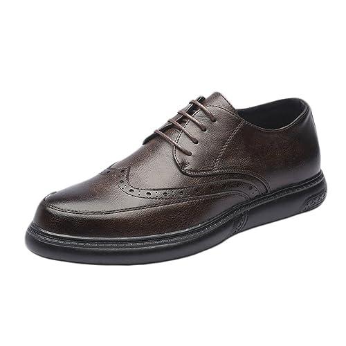 JIALUN-Zapatos Mocasines con Cordones para Hombres Simples Zapatos de Cuero Genuino Transpirable Negocio Informal Suela Blanda Pisos Oxfords: Amazon.es: ...
