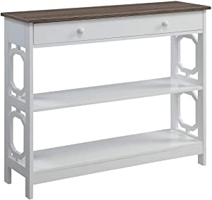 Convenience Concepts Omega 1 Drawer Console Table, Driftwood Top / White Frame