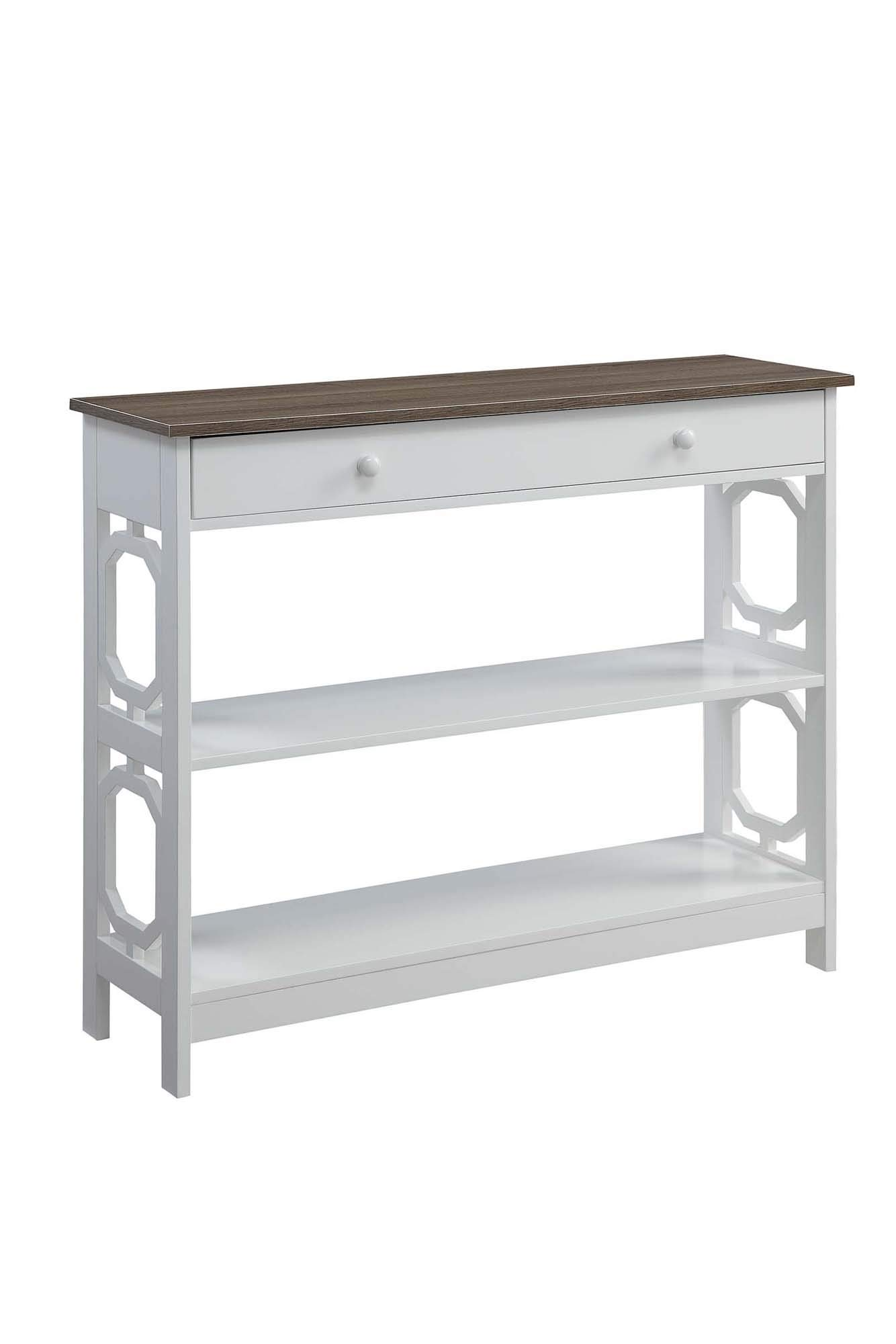Convenience Concepts 203289WDFTW Omega 1-Drawer Console Table, Driftwood Top/White Frame by Convenience Concepts