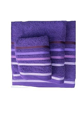 Juego toallas 3 piezas. 100% algodón ALTA CALIDAD. 520 gr/m2. Mod. Paraiso. (Morado): Amazon.es: Hogar