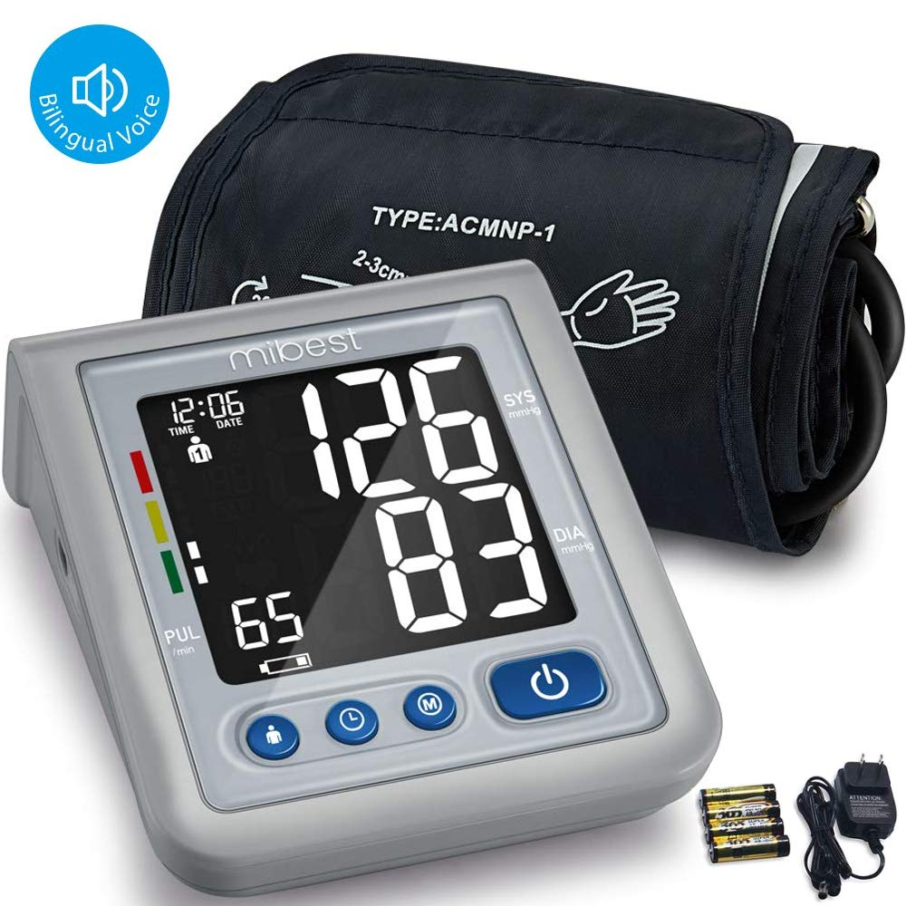MIBEST Blood Pressure Monitor with Talking Function – Blood Pressure Cuff with Large Display – 8.7-12.6 BP Monitor Machine – One Touch BP Cuff – Blood Pressure Kit with Adapter and Batteries Included