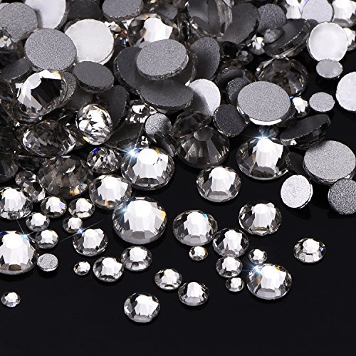 Outus 1000 Pieces Clear Flat Back Rhinestones Round Crystal Gems 1.5 mm - 5 mm, 5 Sizes