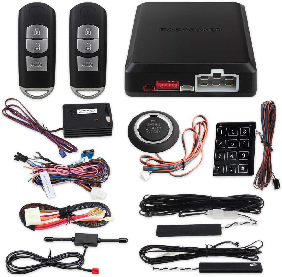 Easyguard Ec002 Ma Ns Smart Key Pke Auto Alarmanlage Mit Annäherungssperre Entriegelung Fernbedienung Starter Druckknopf Start Vibrationsalarm Keyless Start Universal Auto