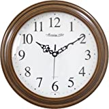 "Decorative Analog Wall Clock Silent Battery Operated Modern Quartz Round Wall Clock Simple for Home, Office, Bedroom, 10"", White, Brown Frame"