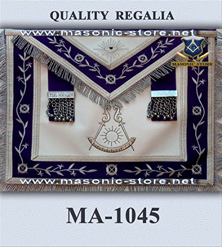 Past Master Apron Navy Blue Silver Eembroidery with (Masonic Past Master Apron)