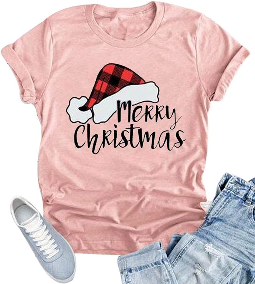 KIDDAD Merry Christmas T-Shirt for Women Plaid Santa Santa Claus Hat Graphic Short Sleeve Tee Tops