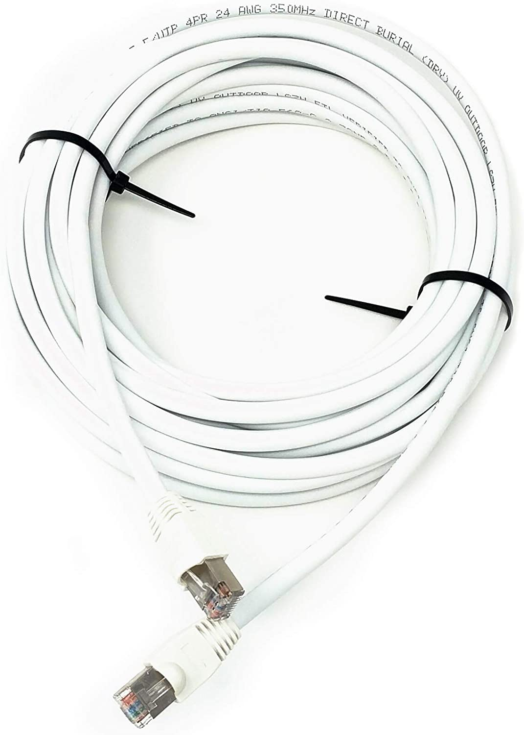 Pure Copper 250ft Cat5e Outdoor Waterproof Ethernet Cable Direct Burial Shielded White