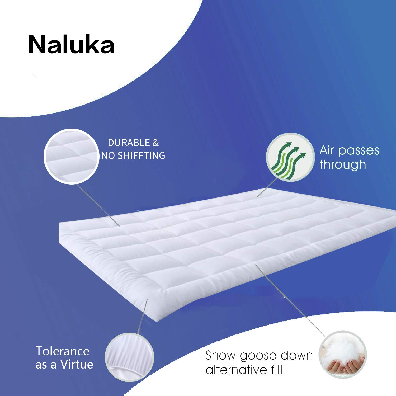 Twin Size Full Down Alternative Fiber Luxurious Mattress Topper Ultra Soft Mattress Protector Naluka Mattress Pad with Fitted Skirt