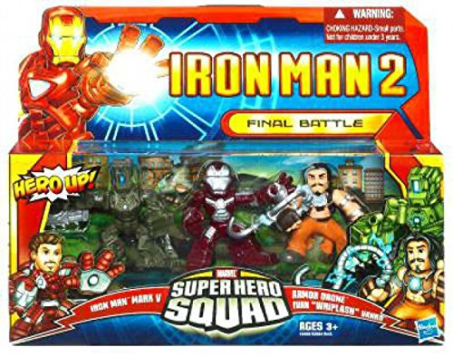 Iron Man 2 Super Hero Squad Mini Figure 3Pack Final Battle Iron Man Mark V, Whiplash & Armor Drone (Iron Man 2 Mark V Action Figure)