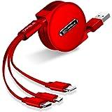 巻き取りケーブル 120cm リール式 ライトニング&TYPEC&MicroUSB 3in1 USB3A急速充電 データ転送 一年間品質保証付き (レッド)