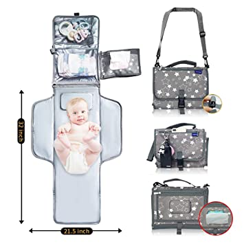 ONEDONE Diaper Changing Pad Waterproof Baby Changing Pad Portable Travel Changing Pad for Diaper Bag Travel Changing Mat w//Wipes Pockets Baby Shower Gifts Baby Essentials for Newborn