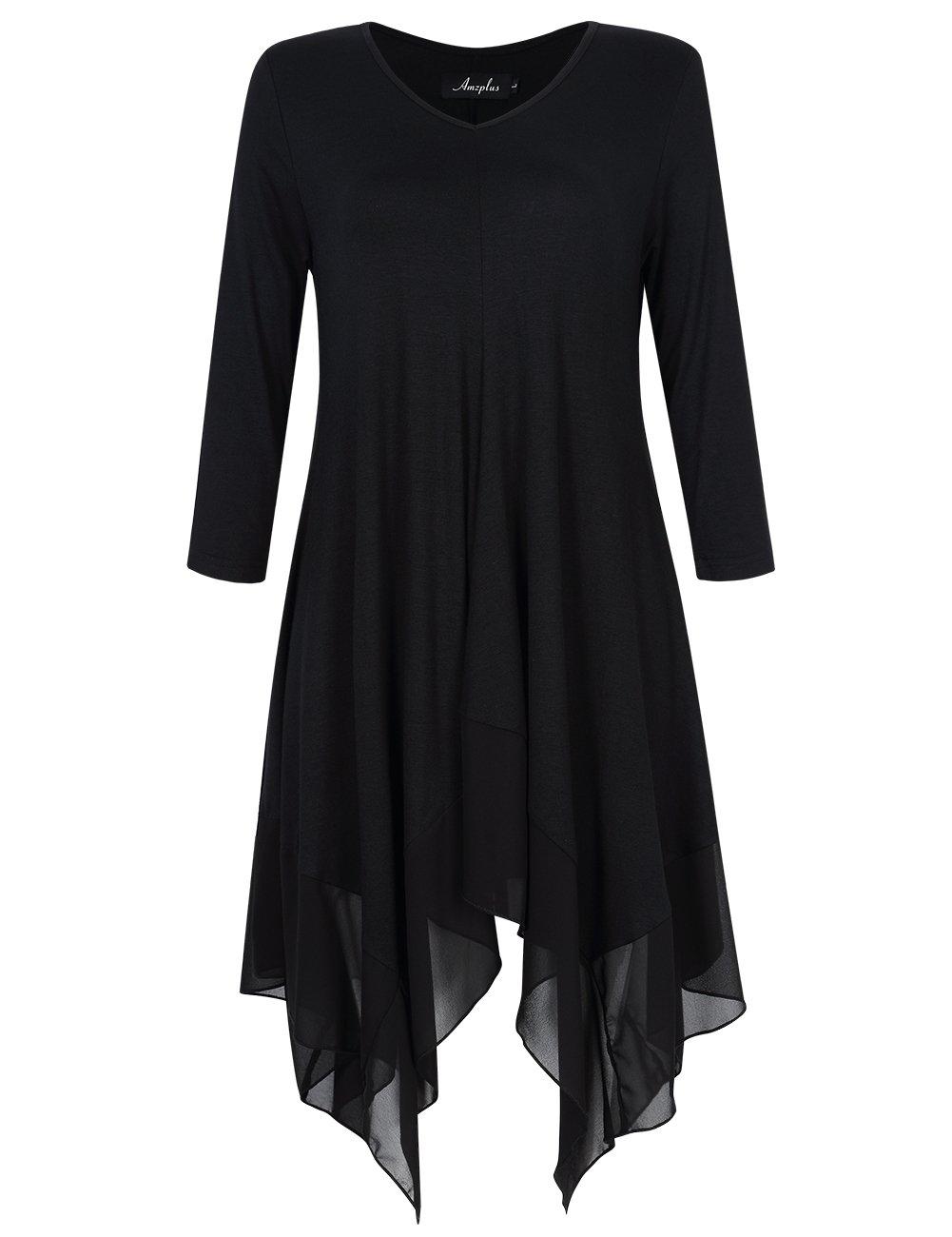 AMZ PLUS Womens Plus Size Irregular Hem Long Sleeve Loose Shirt Dress Top Black 2XL