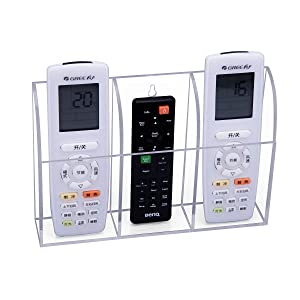 HBlife Clear Acrylic Remote Control Holder Wall Mount Media Organizer Storage Box (Three Compartments)