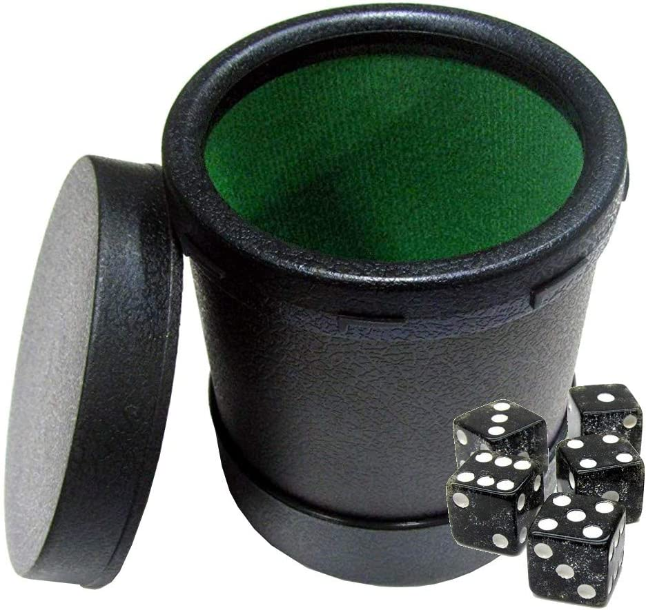 Felt Lined Dice Cup with Easy On//Off Lid 5 Square Corner Transparent Dice